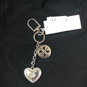 TORY BURCH 'Logo & Heart Key Fob', Silver, NWT